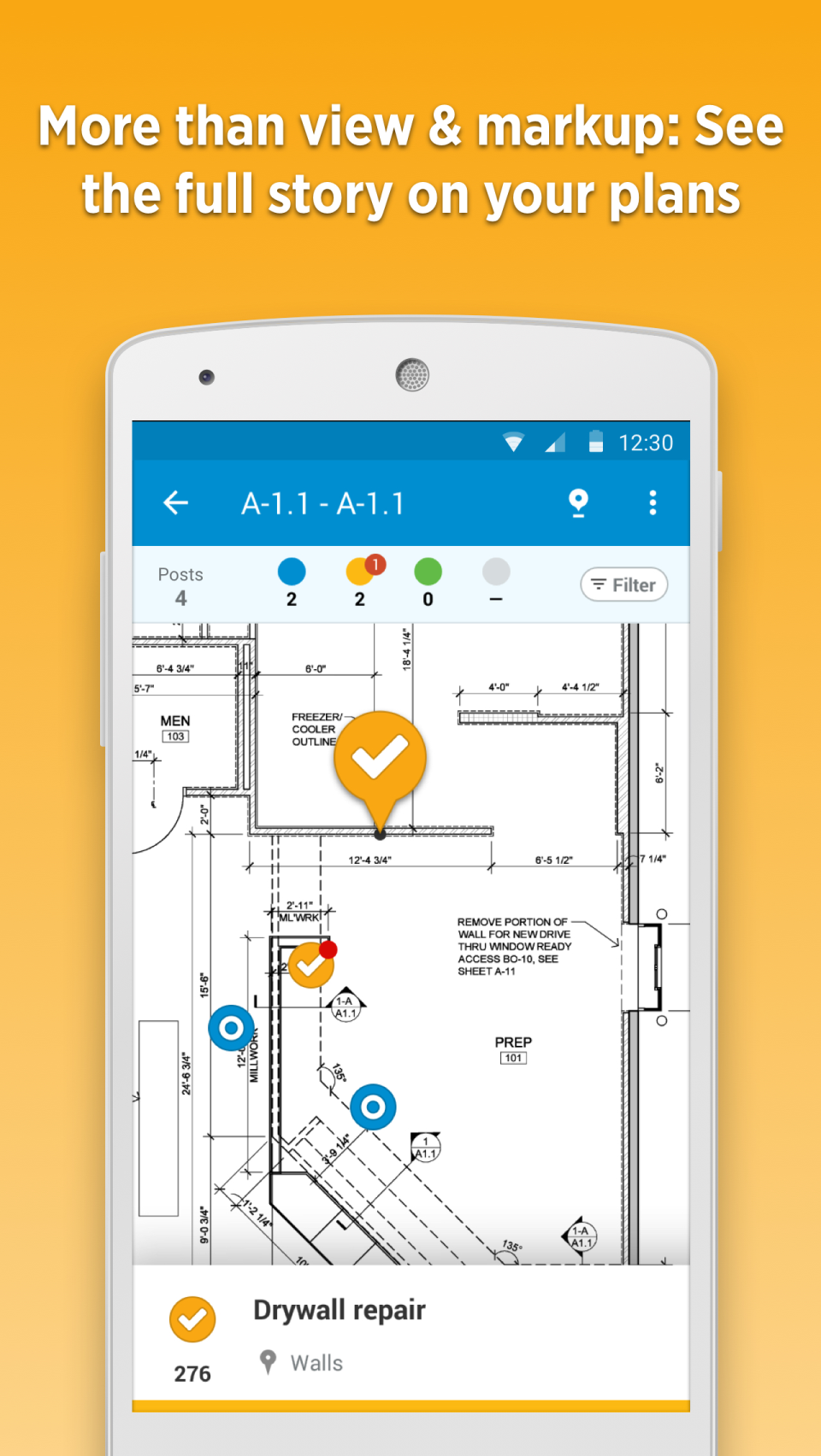 Construction plan display on mobile app