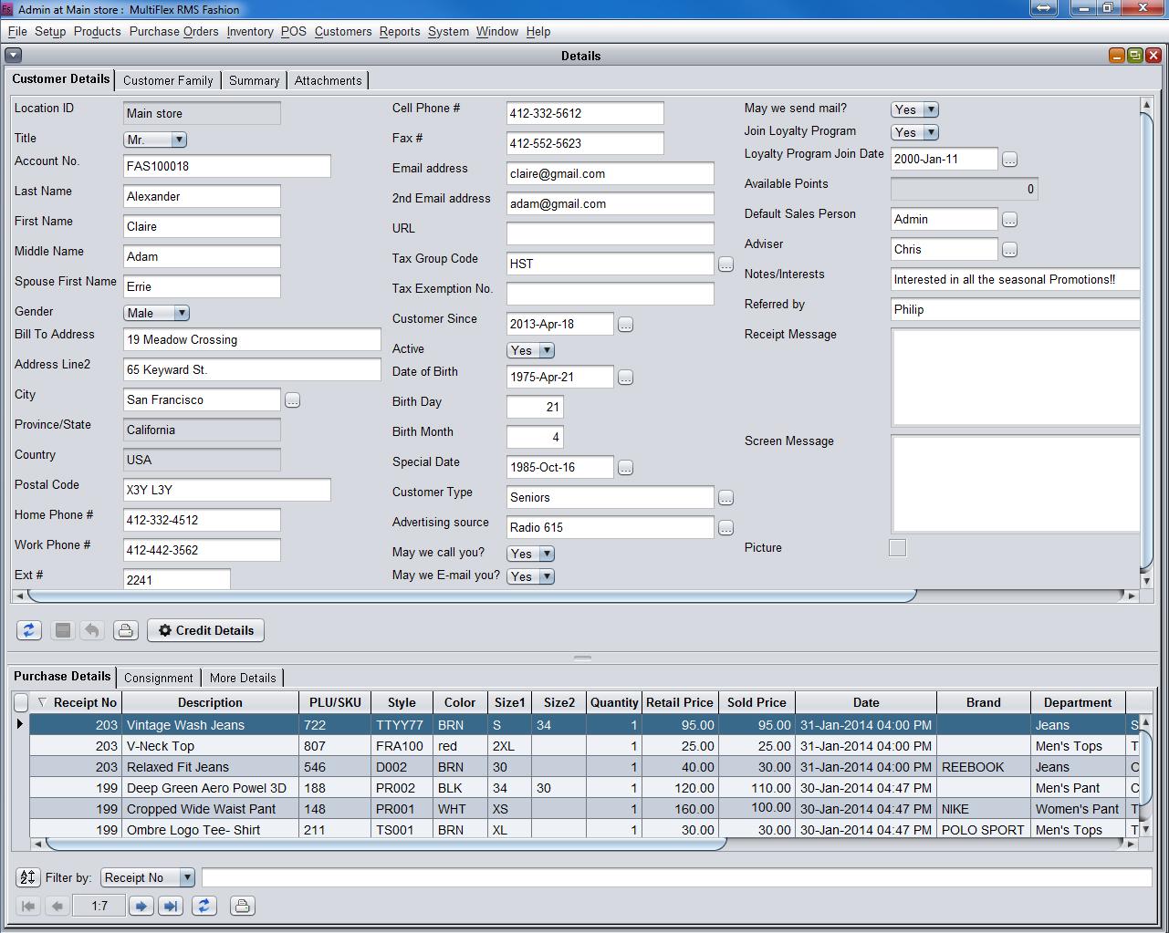 Customer CRM Detail POS Summary