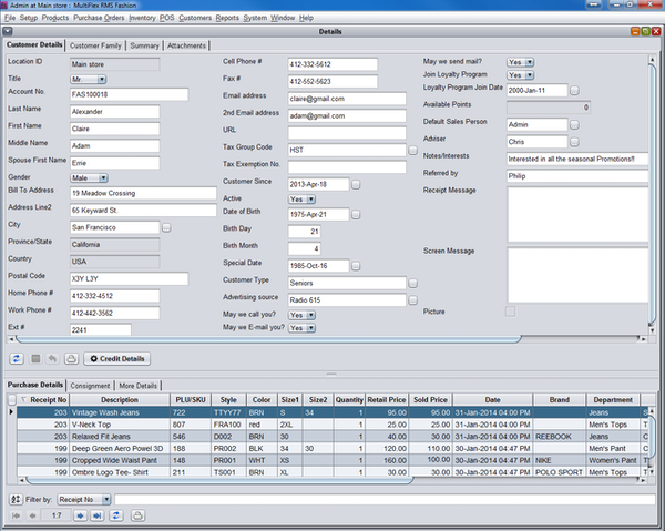 Customer CRM Detail POS Summary