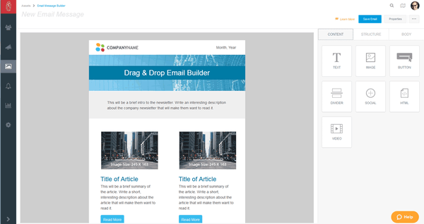 Drag & drop email builder