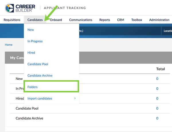 Candidates tab