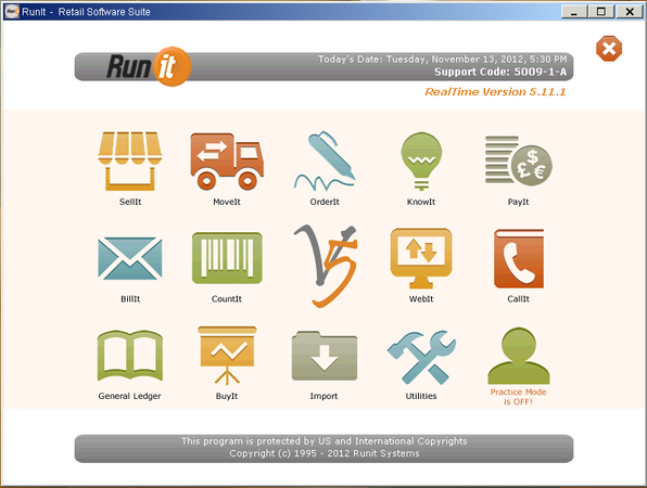 Runit POS Main Screen