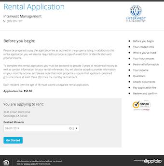 Online rental application