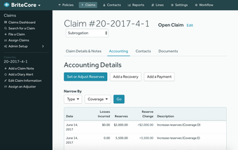 Claims accounting details