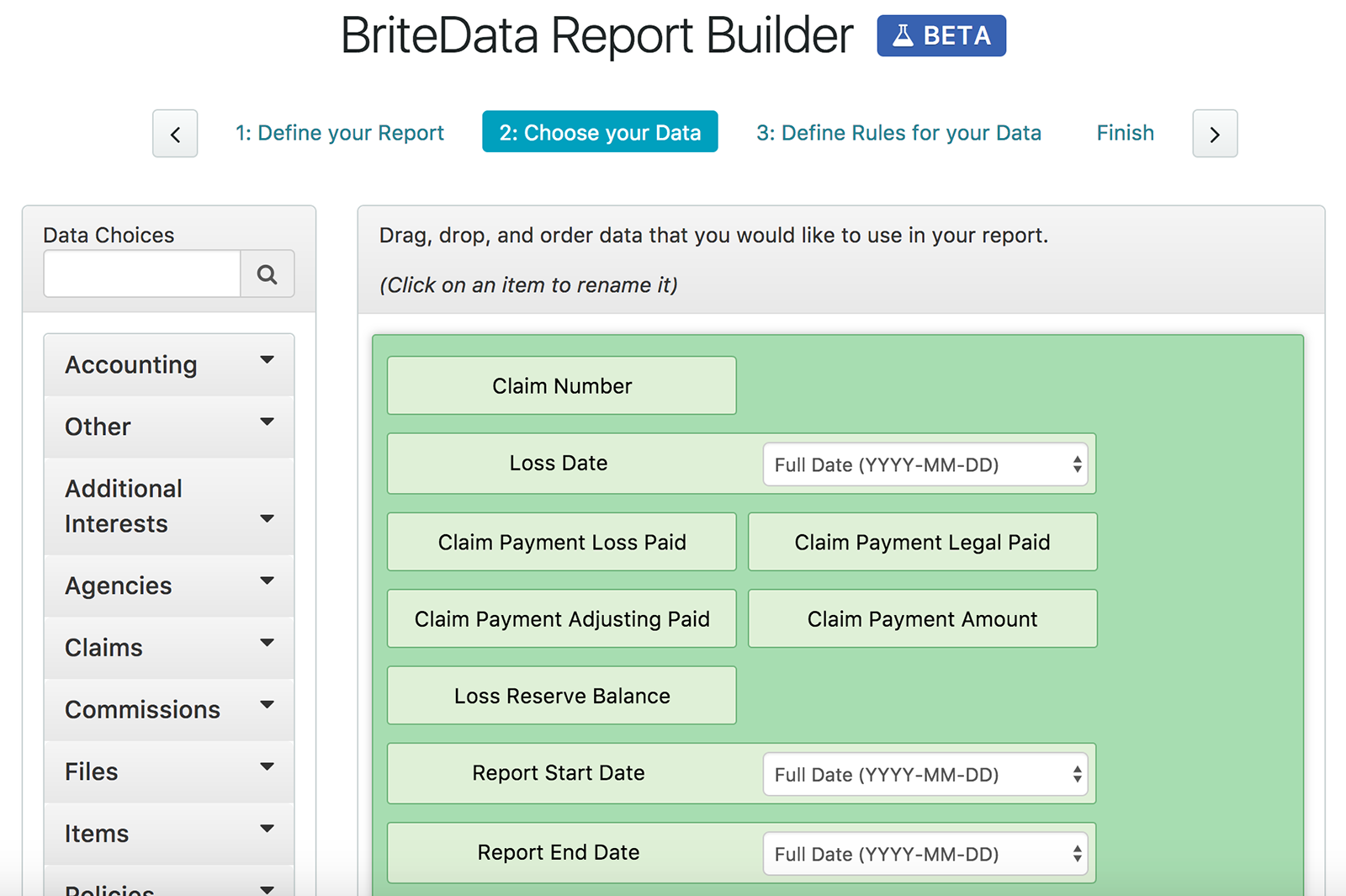 Britedata reporting builder