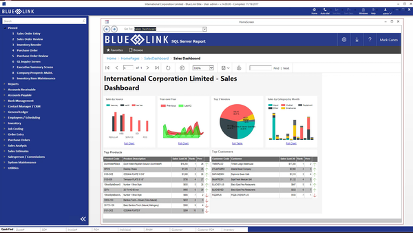 Blue Link ERP - Sales dashboard