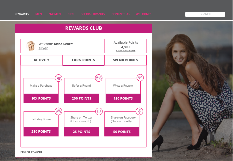 Customer loyalty screen