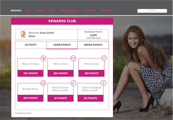 Customer loyalty screen