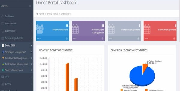 Missio donor portal dashboard