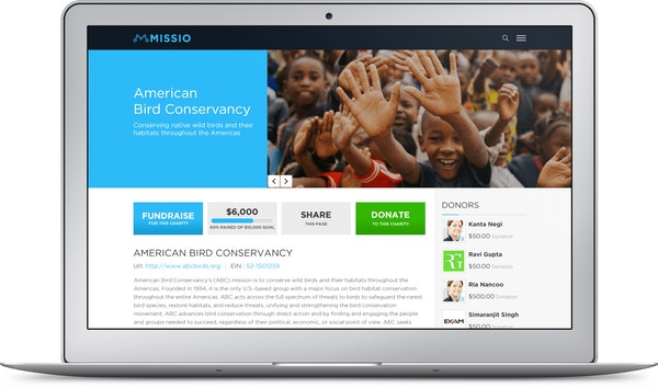 Missio fundraising website