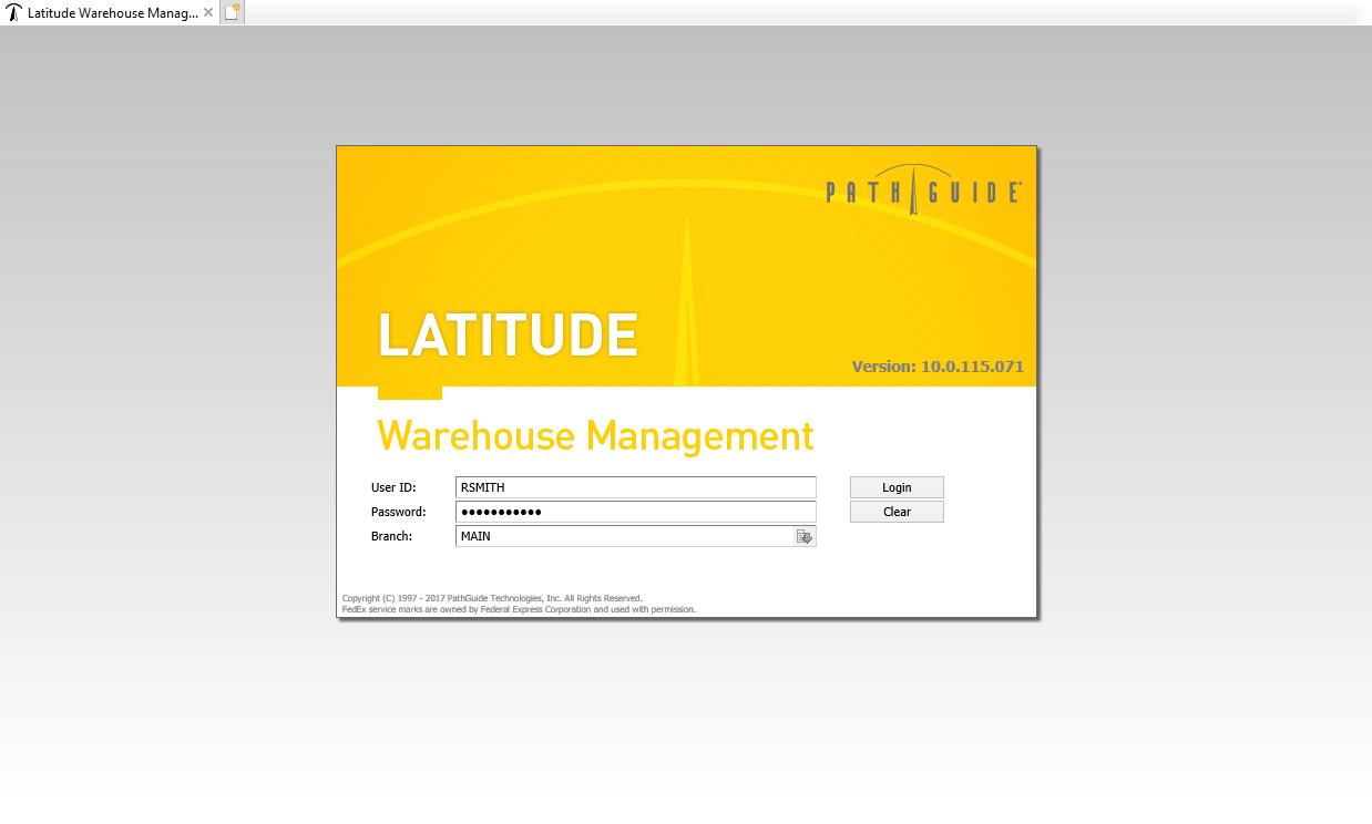 Latitude WMS - Login page