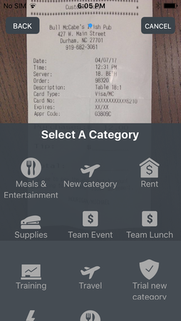 Upload expenses from mobile device
