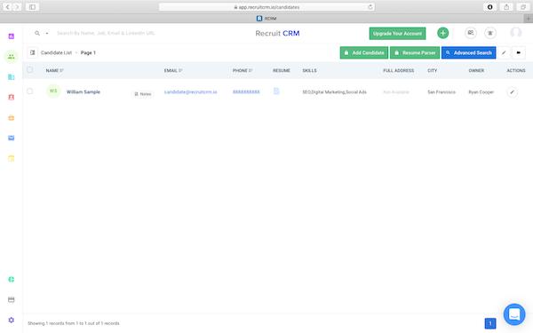 Recruit CRM candidate list screenshot