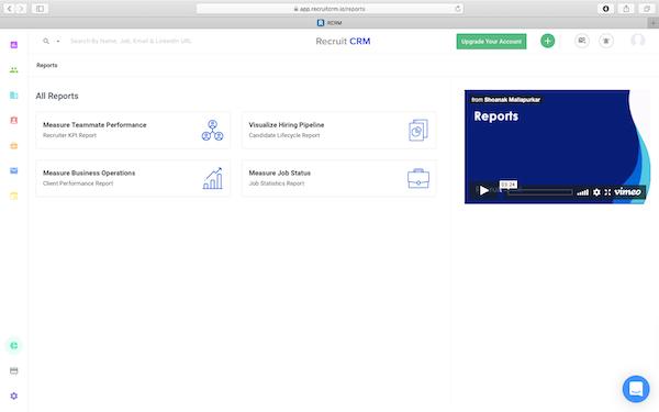 Recruit CRM reports screenshot