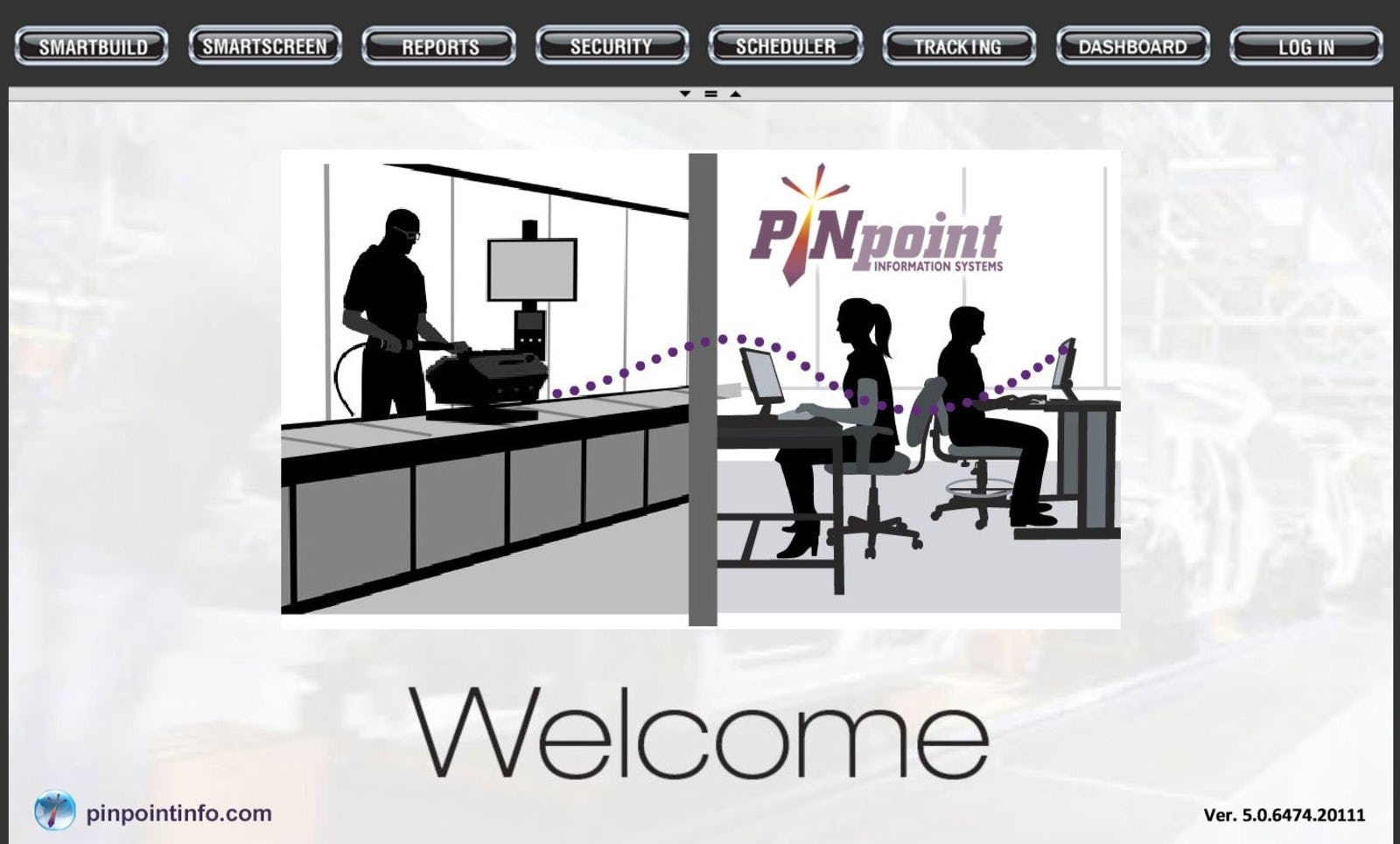 V5 MES - Welcome screen