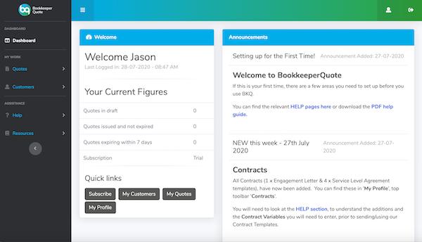 BookeeperQuote dashboard