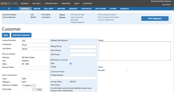 Customer account screen