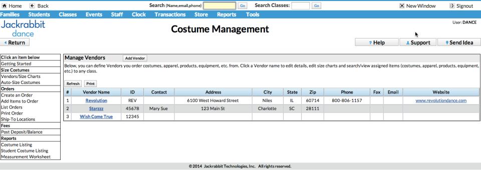 Costume management