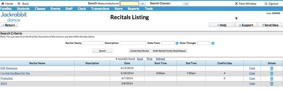 Recitals listing