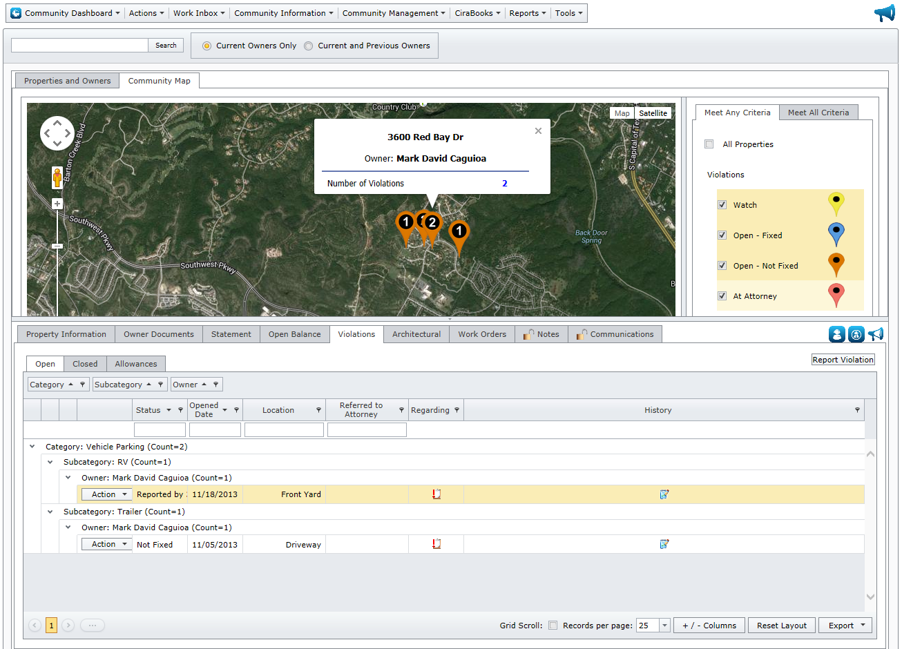 CiraNet community violation map