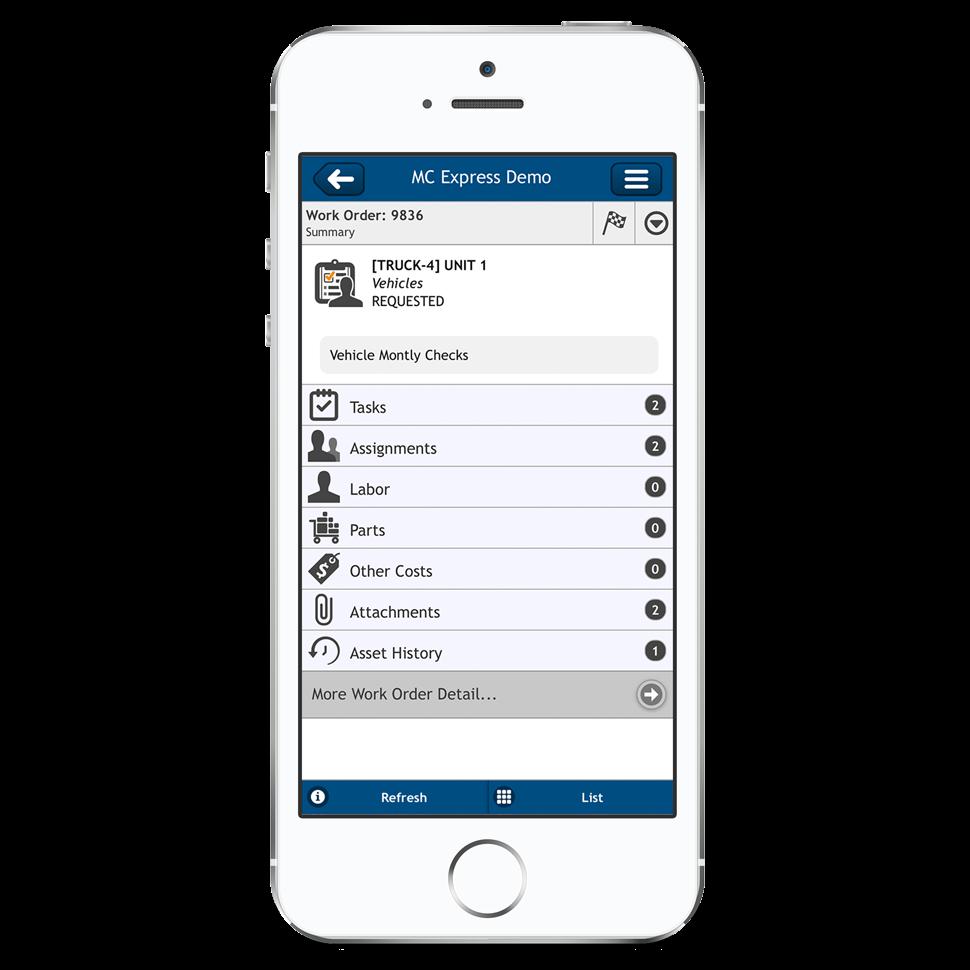 Work order summary - mobile