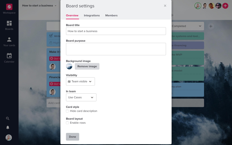 Board settings