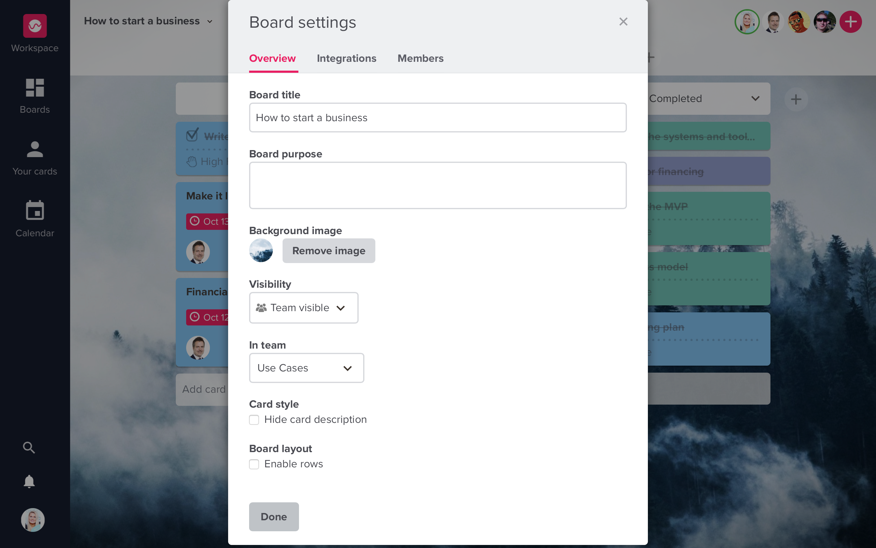 Upwave - Board settings