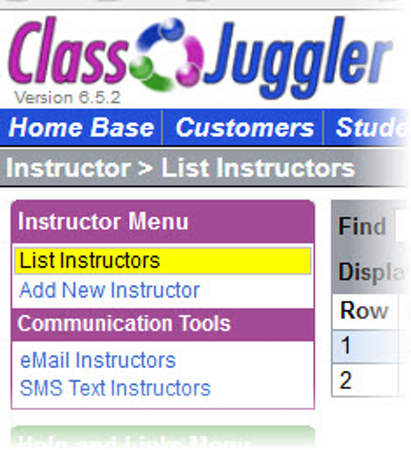 Instructor list