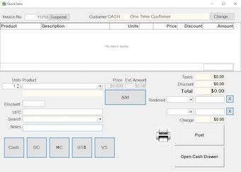 Quick sales screen