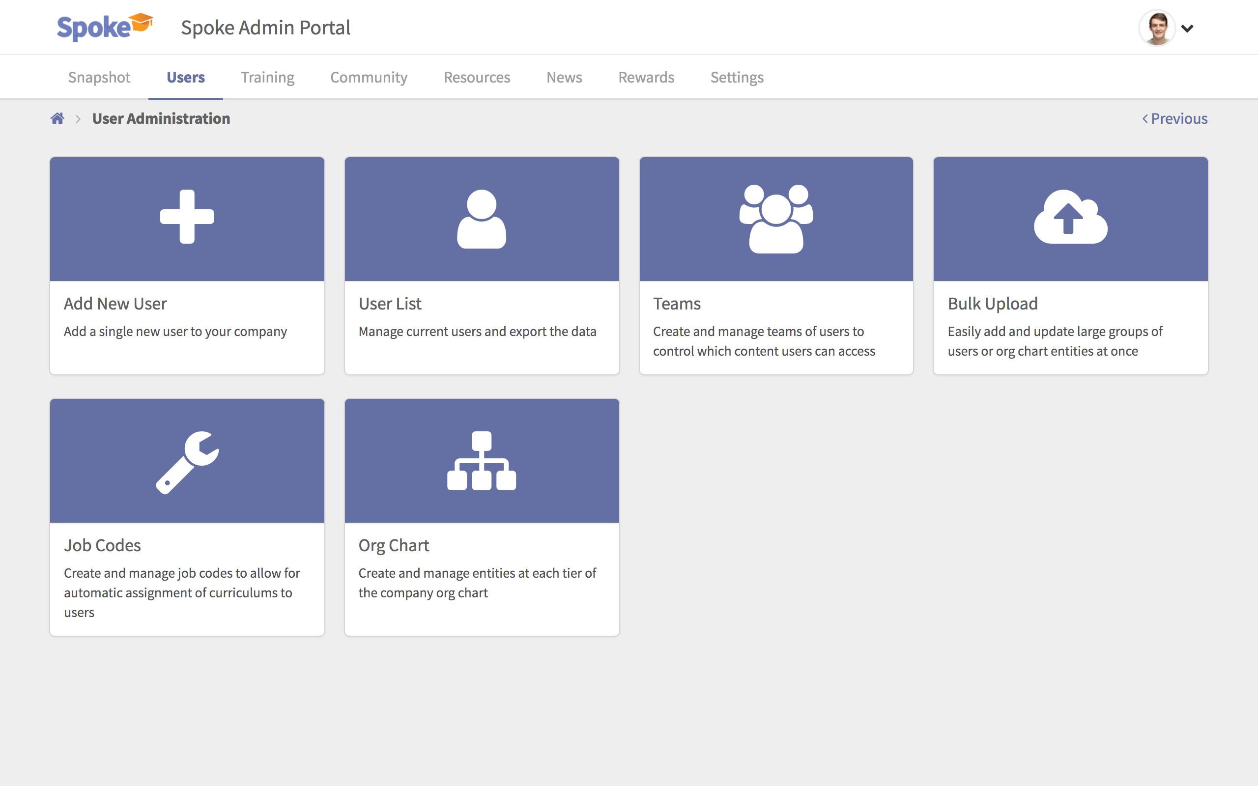 User administration portal