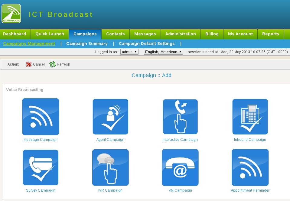 ICTBroadcast - Add campaign