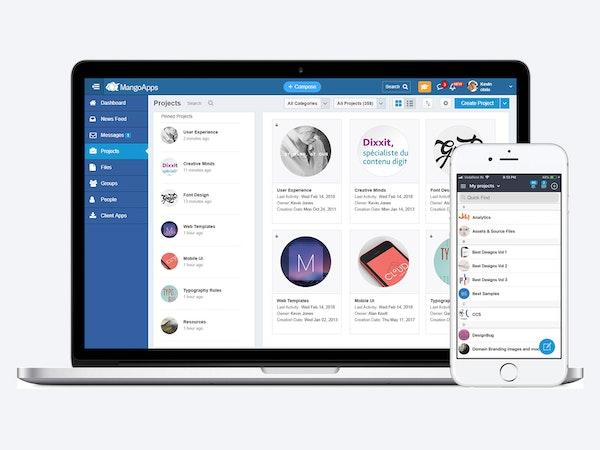 MangoApps collaborative workspaces screenshot