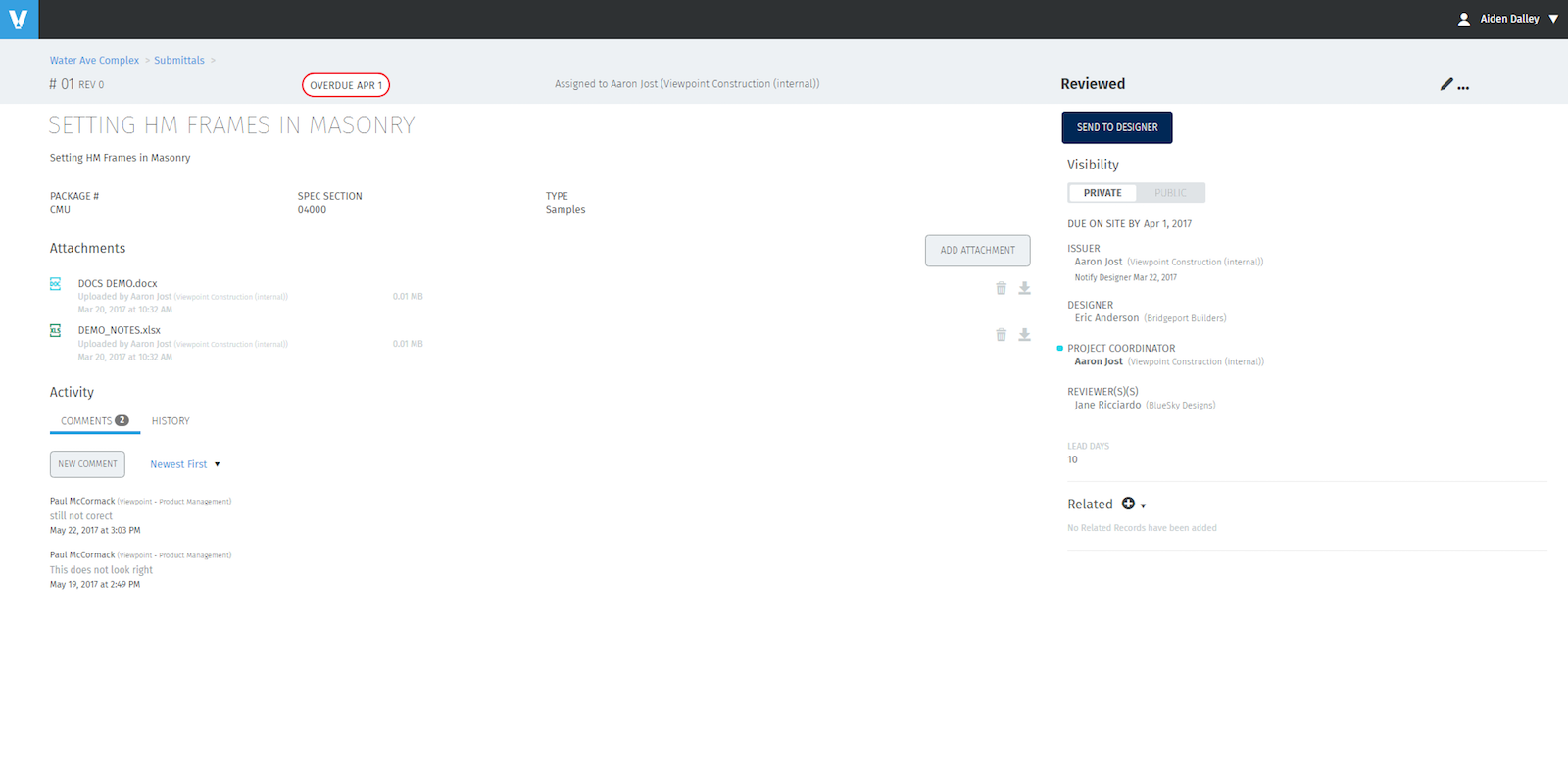 Secure and collaborative submittal workflows