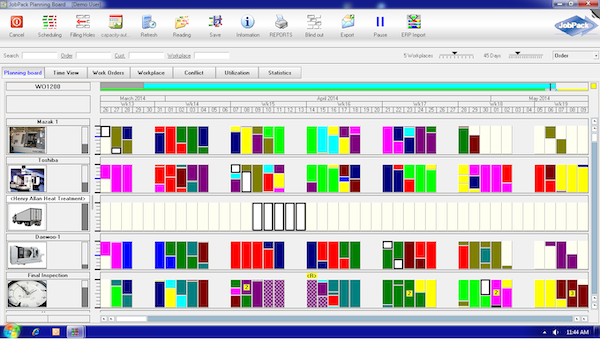JobPack Graphical Scheduler - Real-time finite scheduling