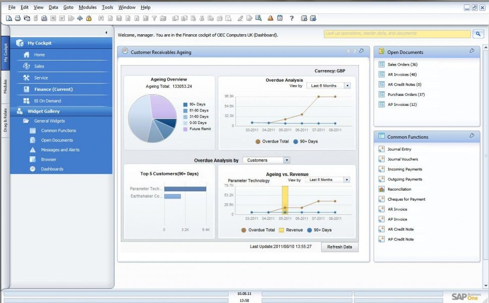 SAP Business One - Widget gallery