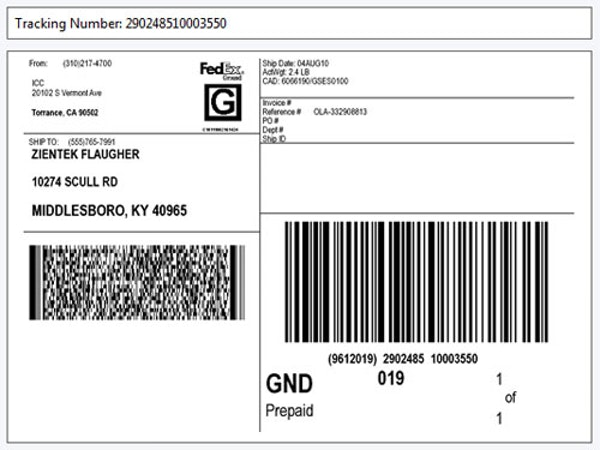 Shipping labels and packing slips