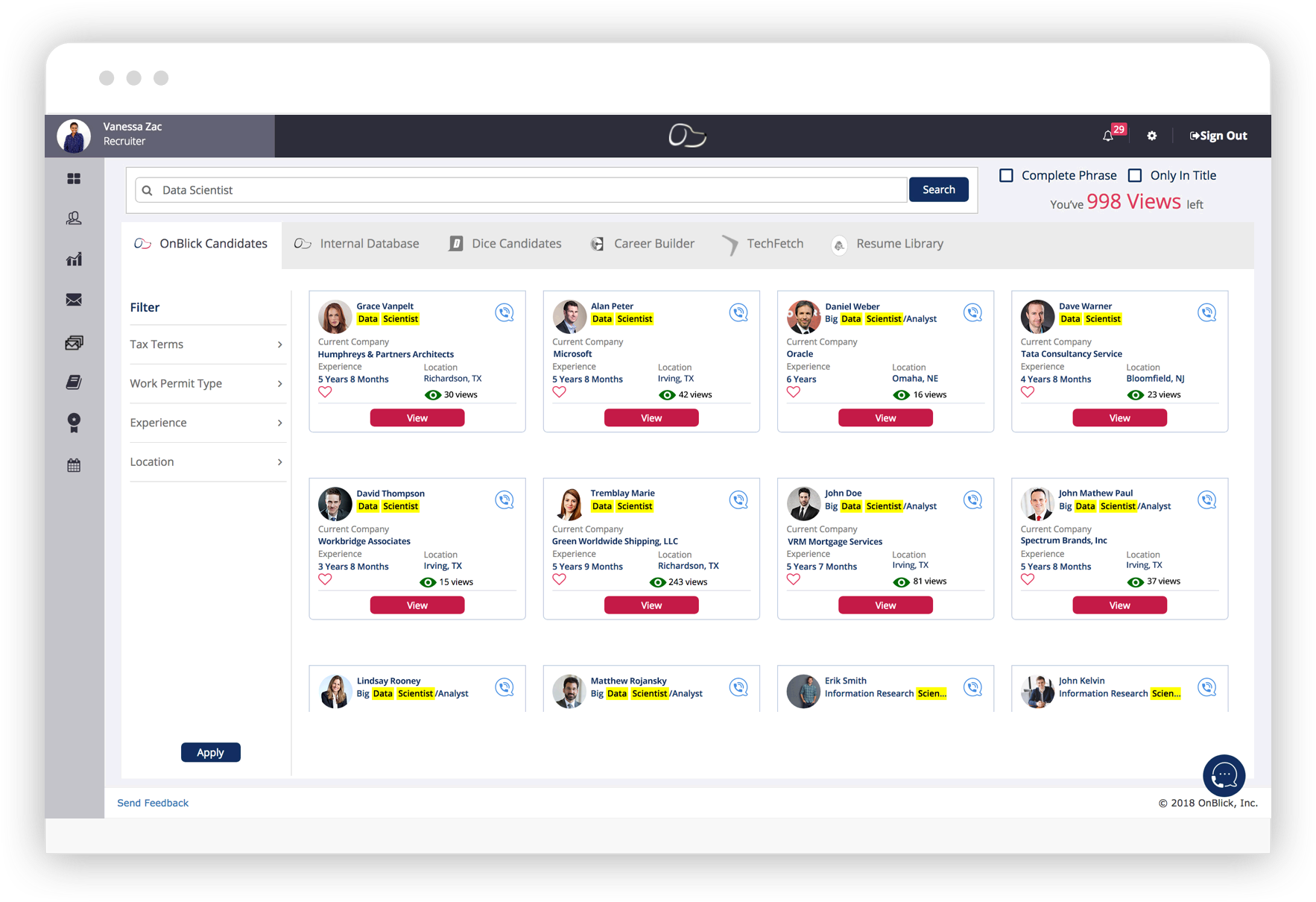 Integrated candidate search