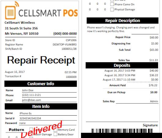 Repair receipt