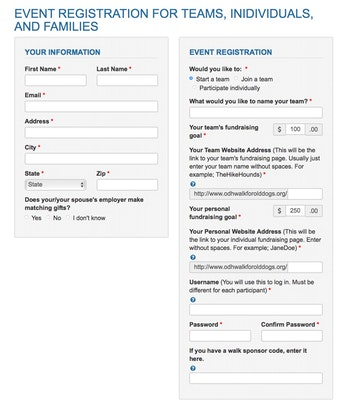 Flexible registration form