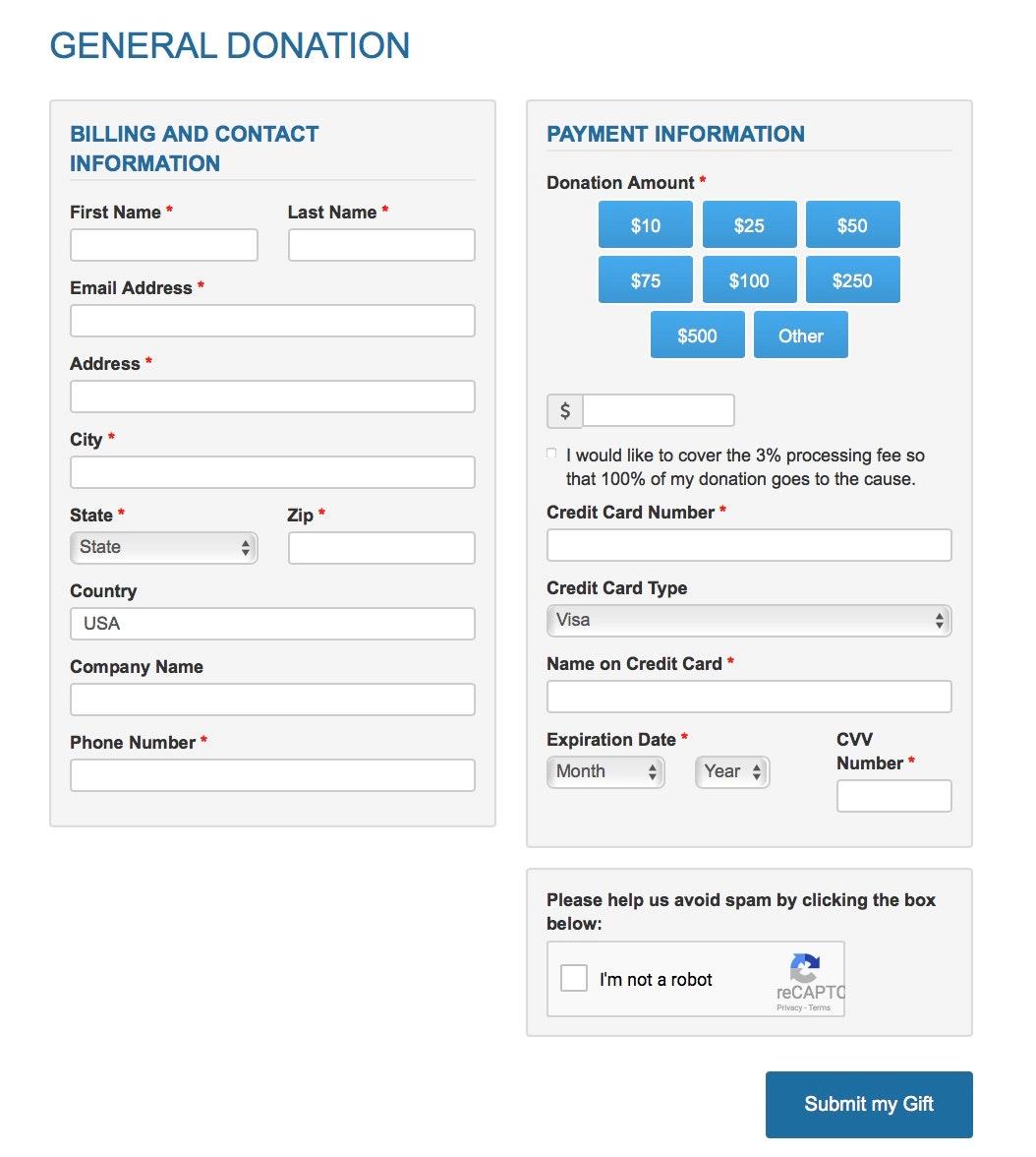 Flexible donation form