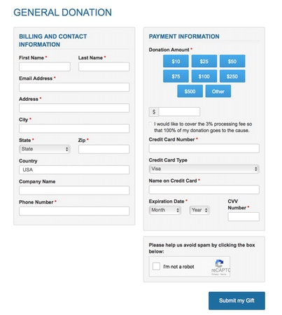 Flexible donation form