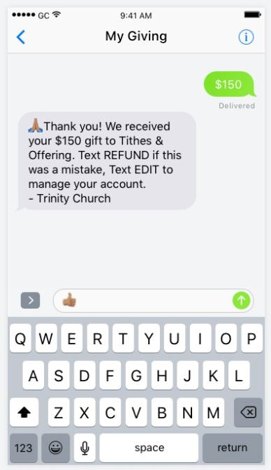 Donation confirmation text