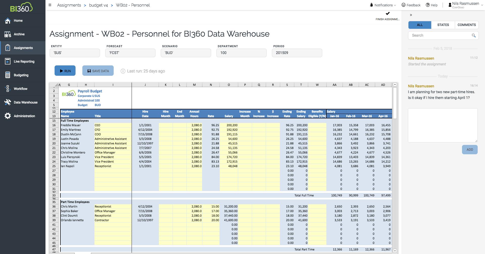 Configurable payroll budgeting