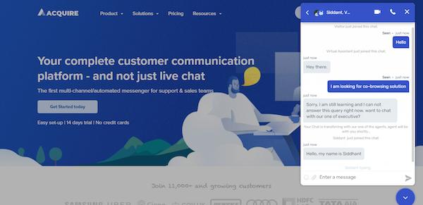 Acquire chat widget