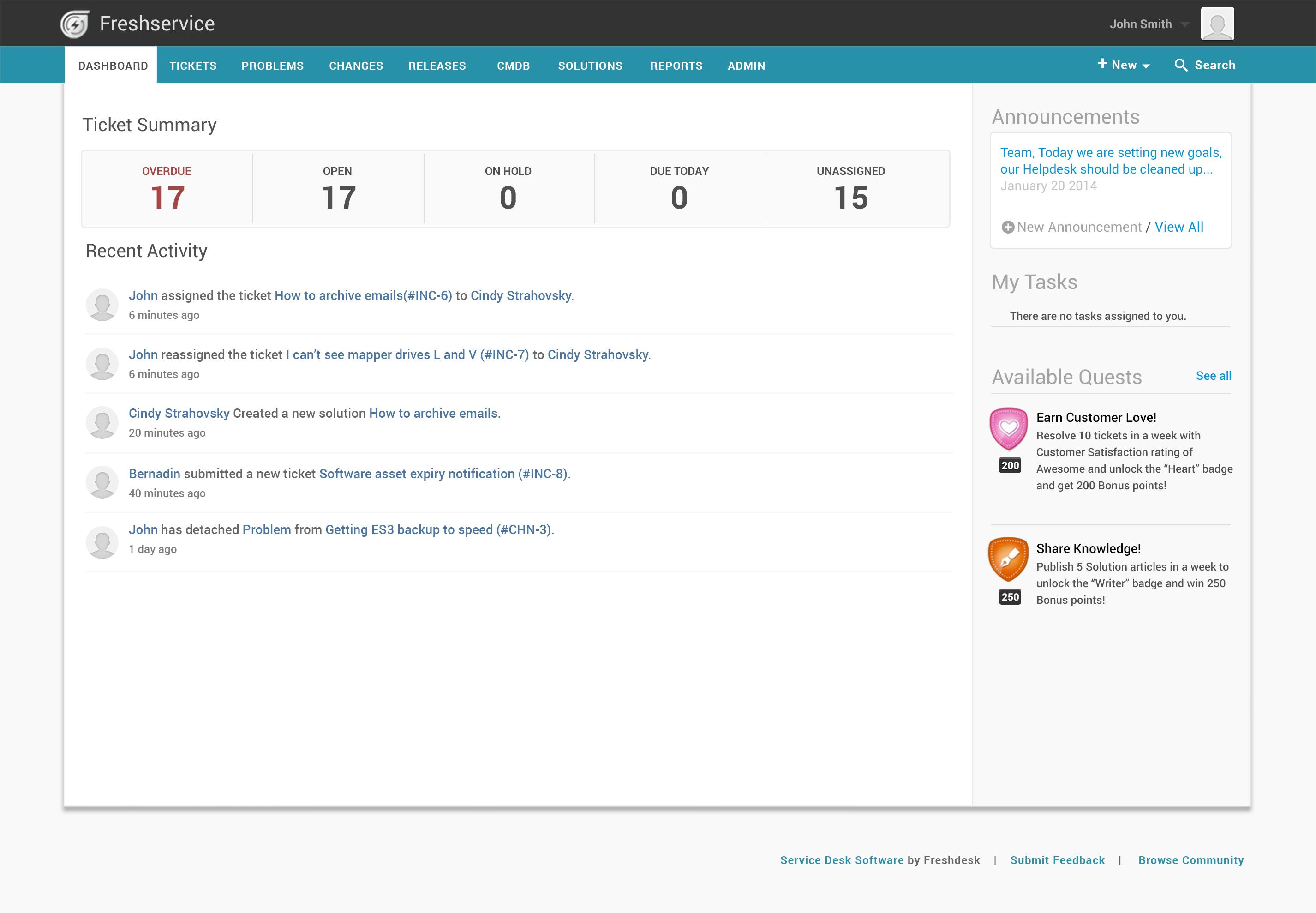 Freshservice - IT helpdesk dashboard