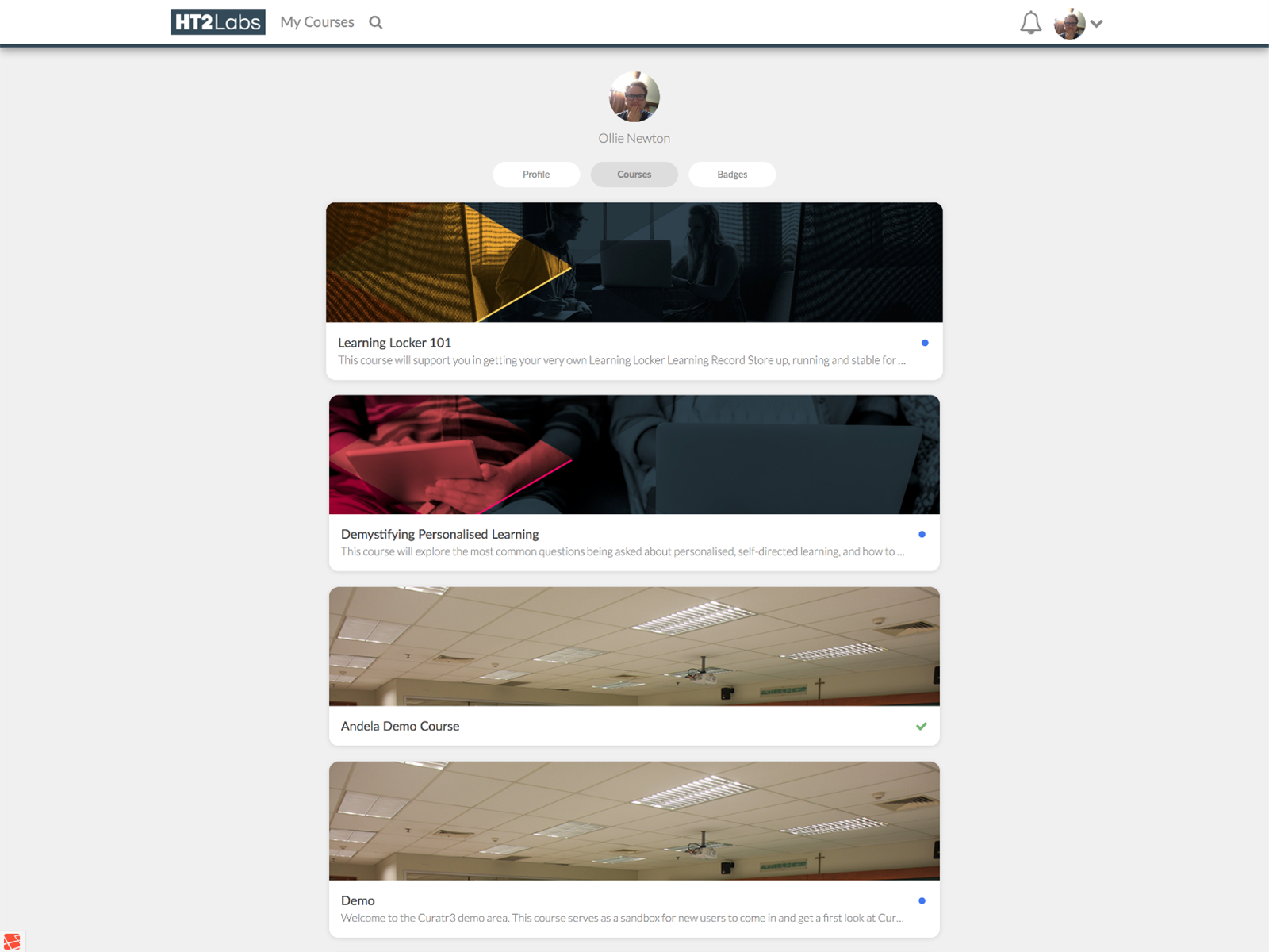 Curatr courses page