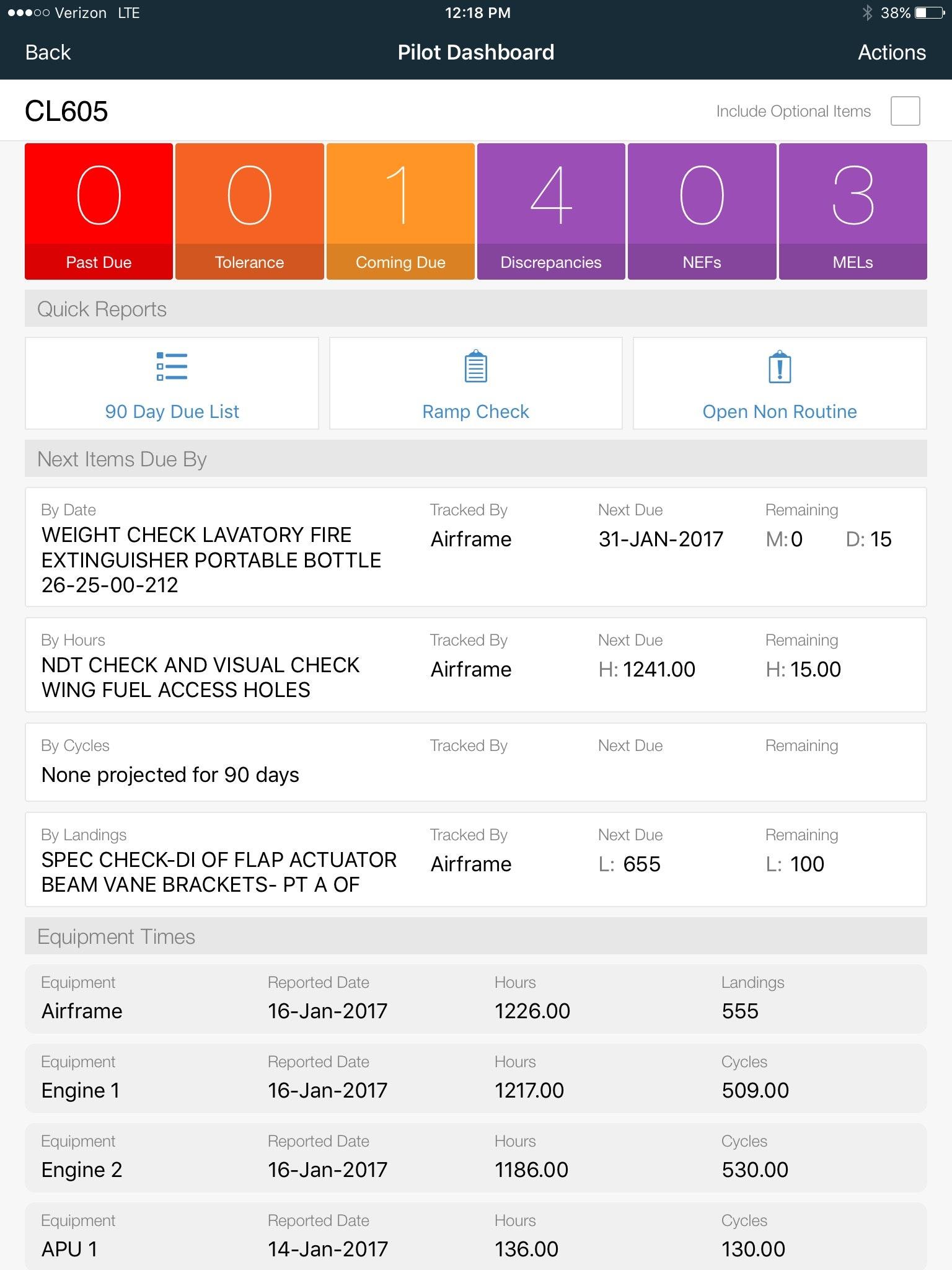 Pilot dashboard iPad