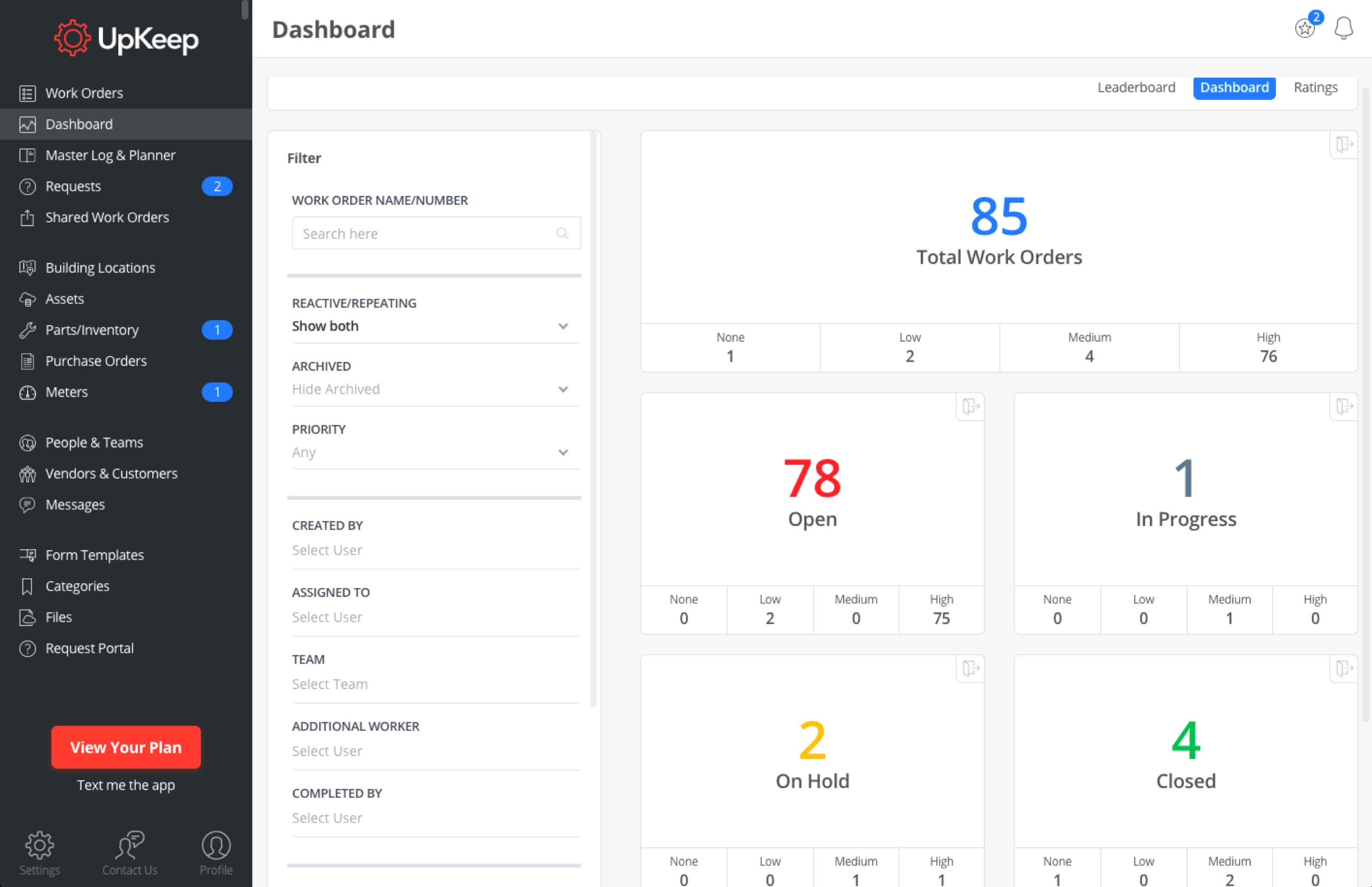 Main dashboard