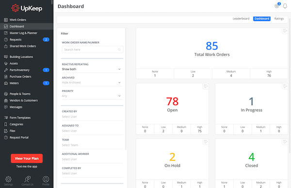 Main dashboard