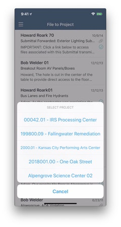 Mobile file in project menu